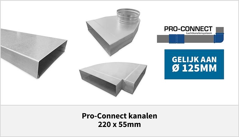 Pro-Connect luchtkanalen systeem rechthoekig staal 220 x 55mm